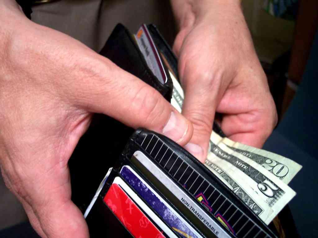 Man checking money