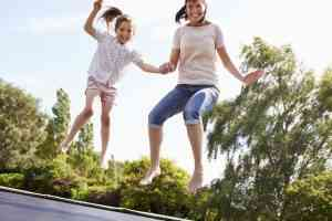 Mom and Daughter at Trampoline