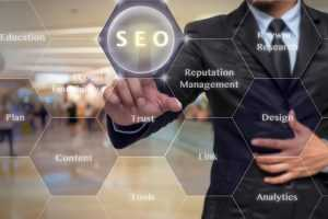Man in a suit pointing at the SEO word