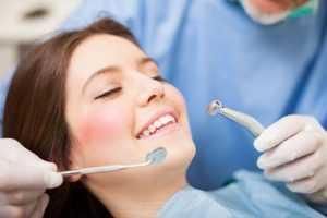 A woman having a dental check-up