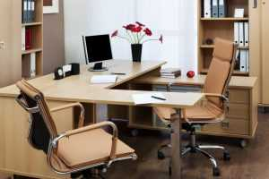 Office desk with ergonomic chairs