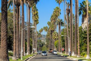 The streets of Beverly Hills on a sunny day