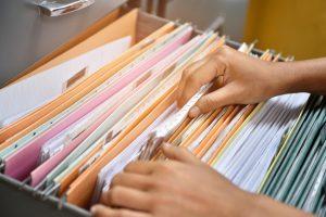 Office files kept on a box