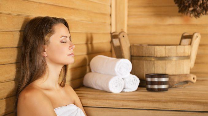 Woman resting at a Korean spa