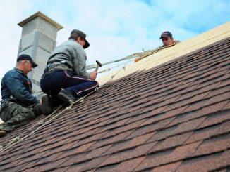 Men installing house insulation