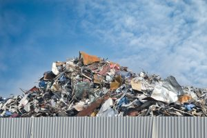 Scrap metal on recycling plant site
