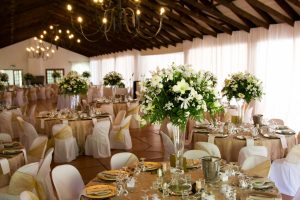 wedding reception venue with décor