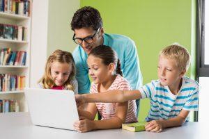 Kids studying on laptop