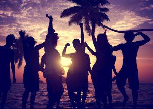 people enjoying the sunset
