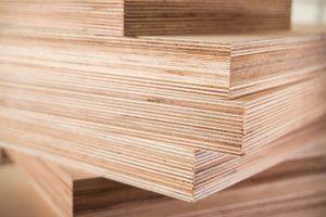 Stacks of plywood on display
