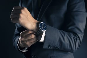 Man in suit wearing watch