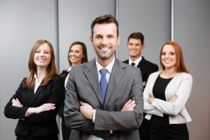 business owner with employees