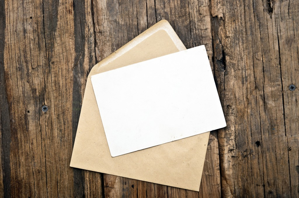 a blank envelope and card