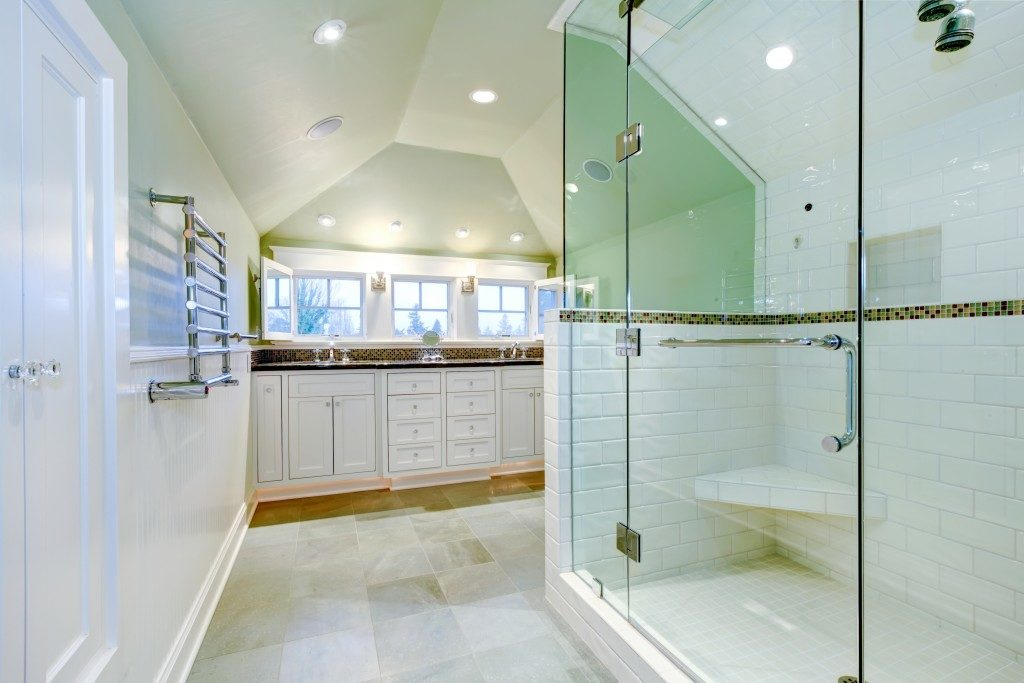 well-lit and spacious bathroom