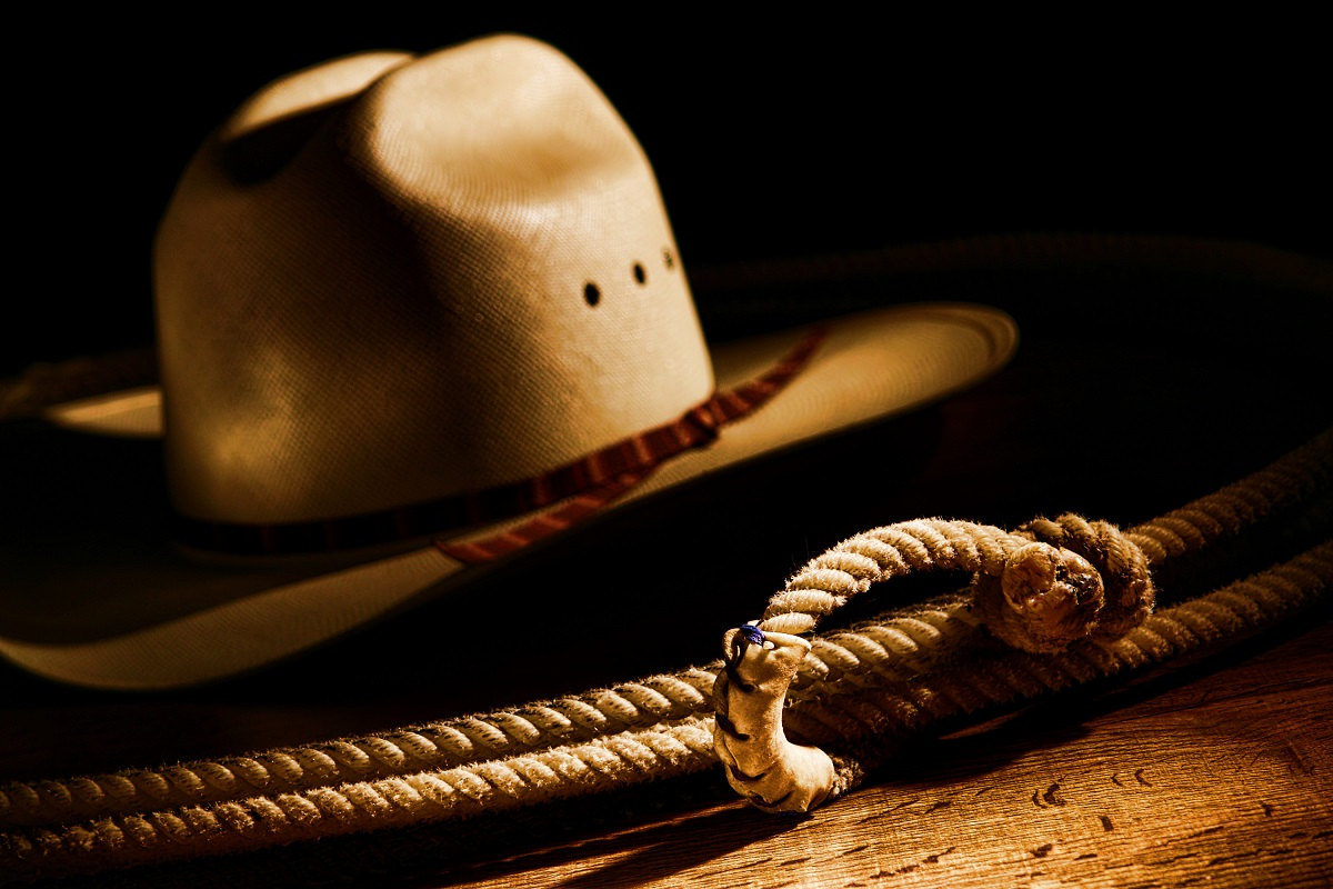 rope and cowboy hat
