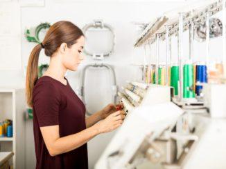 entrepreneur creating embroidery