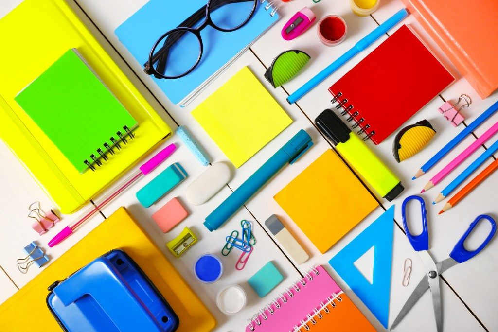 Flat lay of stationery