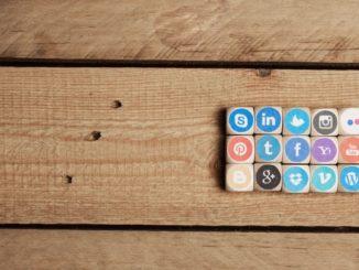 social media icons on blocks