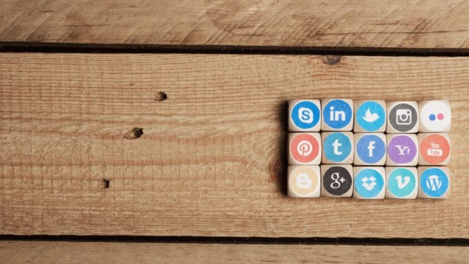 social media icons on blocks