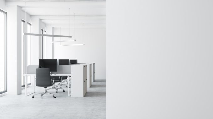 All white office space