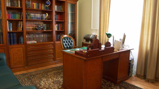 bookshelf in the study