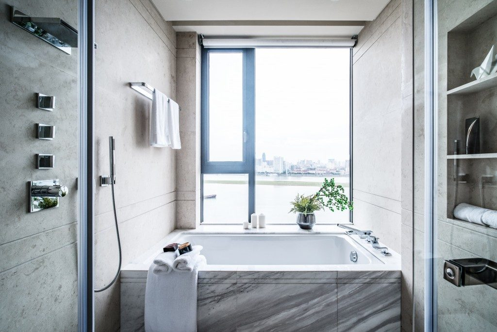 Modern bathroom interior with a view