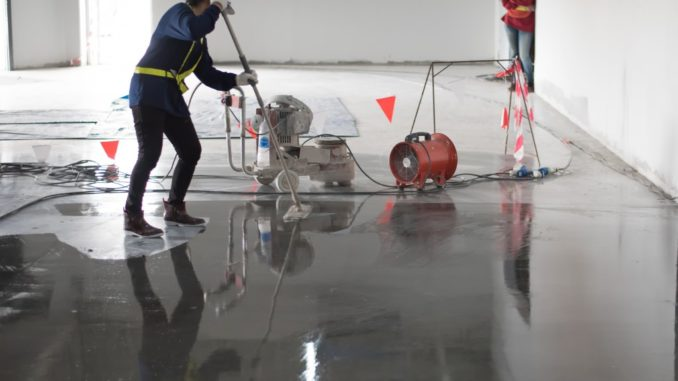 polishing the floor