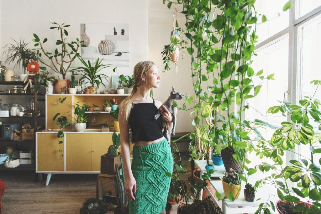 Woman and cat surrounded by indoor plants
