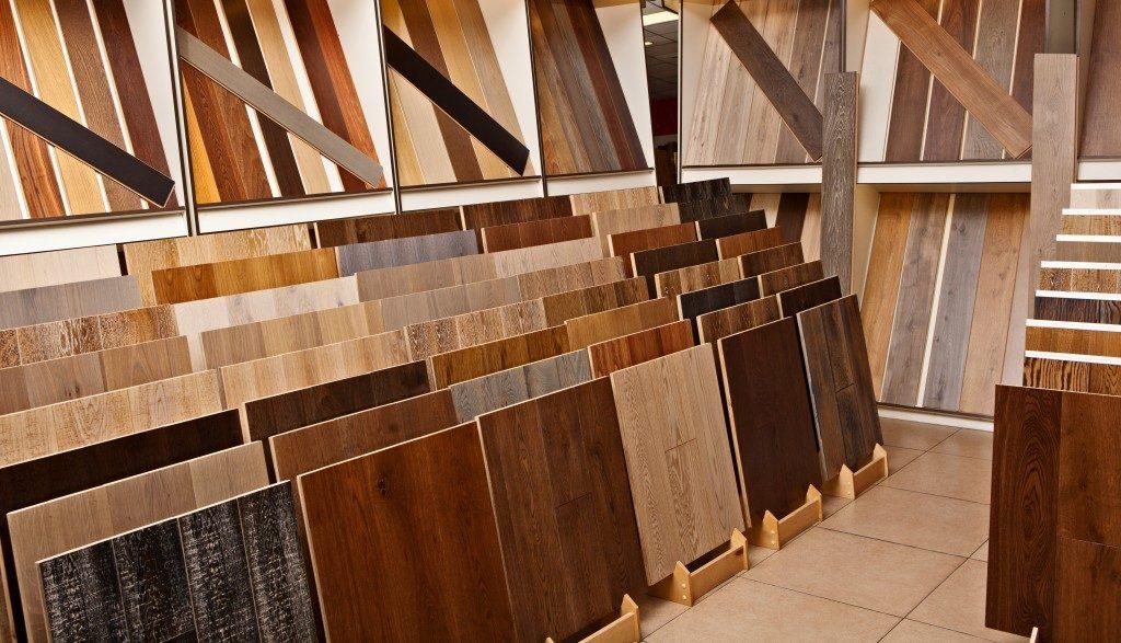 hardwood floorings in a hardware store