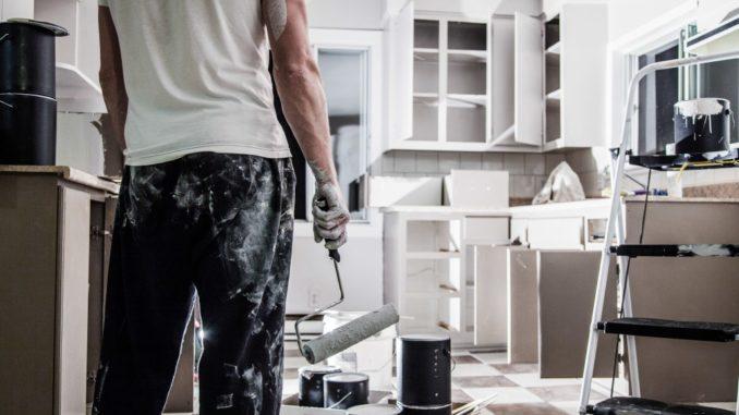 man remodelling his kitchen