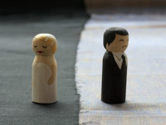 wife and husband doodles in divorce process concept broken relationships