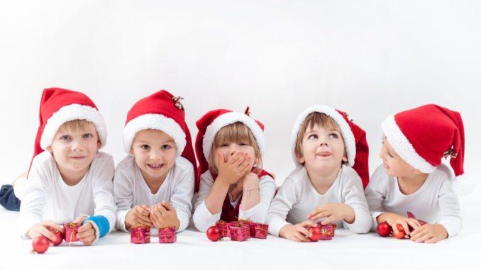 kids wearing santa hats