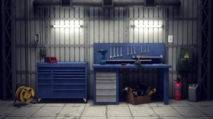 table and tool sets in the garage