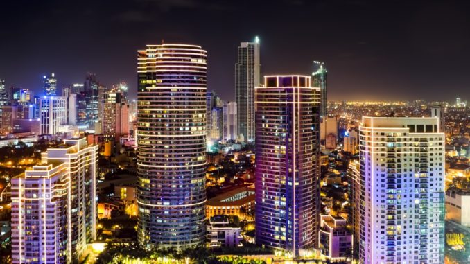 Night shot of skyline