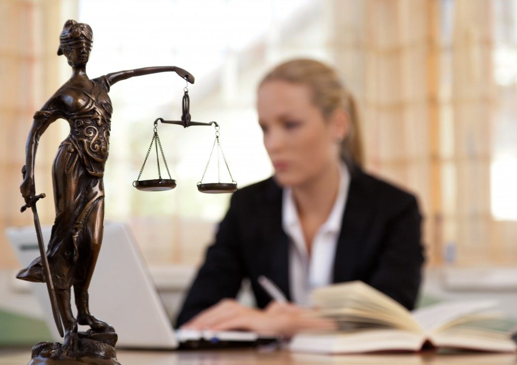 justice statue in law office