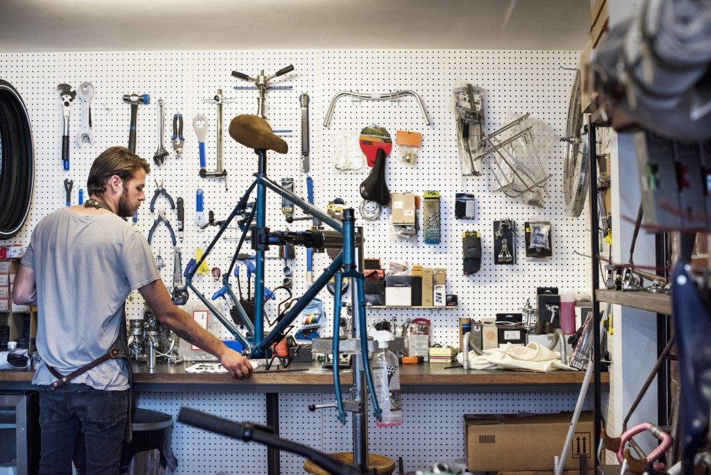 man inside a bike shop