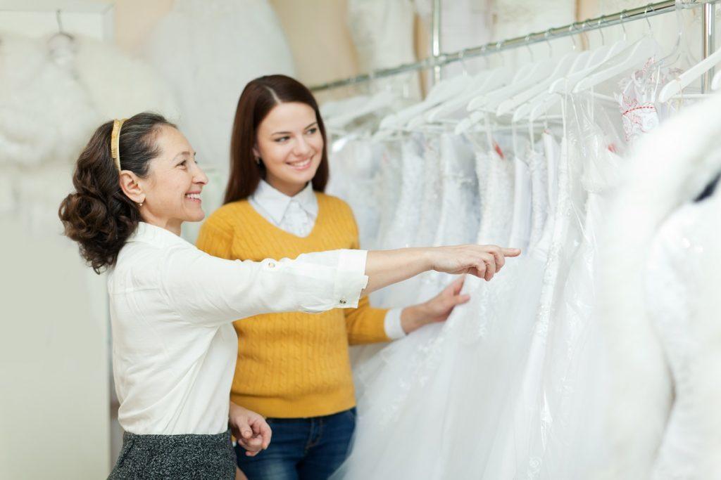 bride choosing a wedding dress