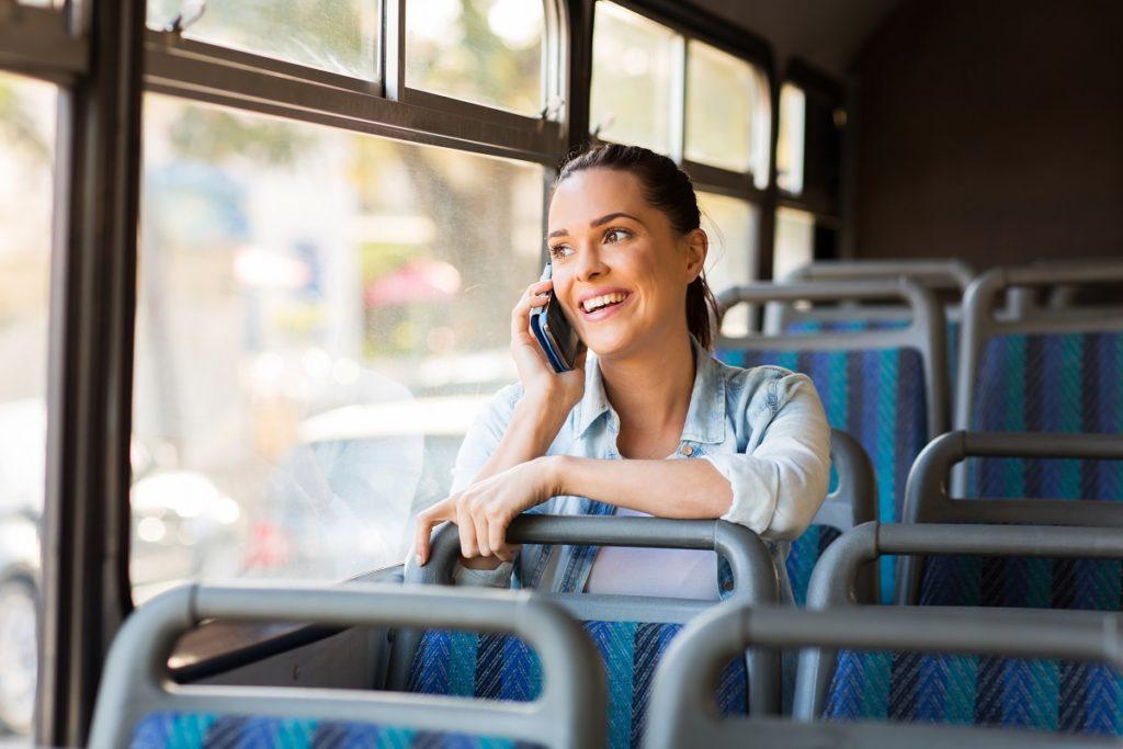 woman riding a bus