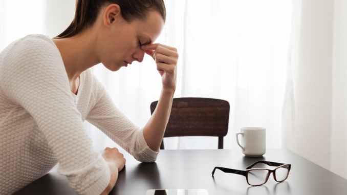 woman stressed at home