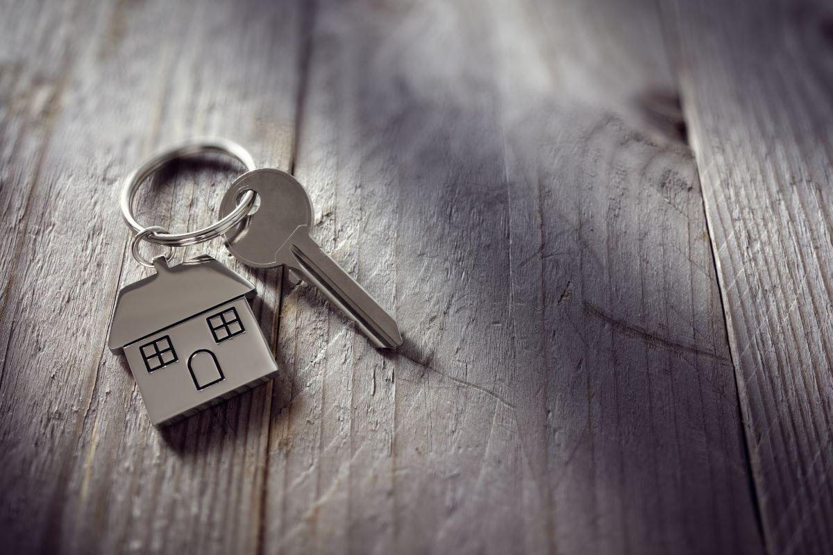 key with miniature house keychain